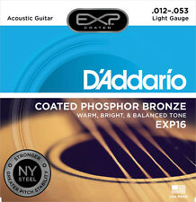 D'Addario EXP16 Coated Phosphor Bronze Acoustic Guitar Strings 12-53 lite w/NYXL