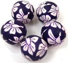 25mm Handmade Polymer Clay Round Pendant Beads - Dark Purple / Jet