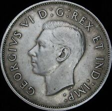 1941 Narrow Date XF+ (AU-)  Canada Silver 50 Cents (Fifty, Half) - KM# 36 - JG