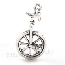 3D UNICYCLE Bike one-wheel vehicle 925 Sterling Silver Pendant Bracelet Charm