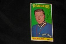 """GEORGE """"RED"""" SULLIVAN 1964-65 TOPPS SIGNED AUTOGRAPHED CARD #29 NEW YORK RANGERS"""