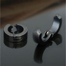 NEW 1 Pair Men Stainless Steel Non-Piercing Clip On Ear Stud Cuff Hoop Earrings