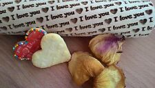 Wooden Rolling Pin Laser Engraved Print - I love you - Pattern Embossing