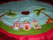 "TROPICAL PINK FLAMINGO ""DAY AT THE BEACH""  CHRISTMAS TREE SKIRT 4 FT ROUND"