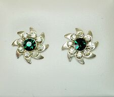 10mm Green and Clear Crystal & Silver Tone Faceted Stud Earrings