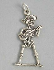 SKELETON With GUITAR ROCKER Sterling Silver 925 Charm Pendant 3D Halloween 4485