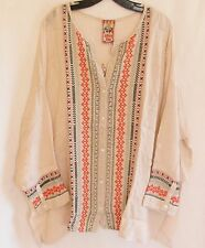 $270 JOHNNY WAS MELVIN BUTTON DOWN EMBROIDERED TUNIC TOP BLOUSE PINK 1X 2X NWT