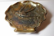 VINTAGE ANTIQUE CHINESE JAPANESE BRONZE   METAL TRAY / BIRD/ INSECTS