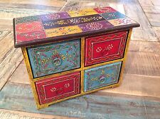 ❤️Hand Painted Wooden Chest, Yellow Turquoise Red, 4 Drawers, Fair Trade Indian
