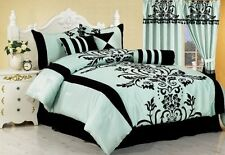 Cal King Size Comforter Set Black Teal Aqua Shams Bed In A Bag 7 Piece Bedroom