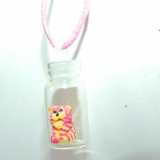 Tiny Miniature hand sculpted Bagpus in glass jar bottle necklace pendant