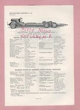 KASSEL Typentafel 1934 Henschel & Sohn Dreiachs-Fahrgestell Sattelschlepper 5J0