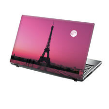 "TaylorHe 15.6"" Laptop Vinyl Skin Sticker Decal Pink Moonlight Eiffel Tower 492"