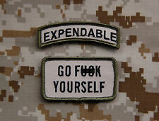 EXPENDABLE Tab & GO F*** YOURSELF Multicam morale patch set SEAL DEVGRU US Army