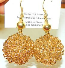 NWT FASHION VINTAGE SILVER GOLD RUSTIC WIRE BALL  DANGLE DROP Earring KPE6994