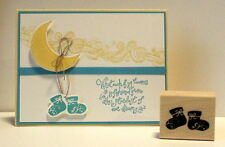 Stampin up Adorable Booties stamp~make cute card use baby firsts & stardust sets