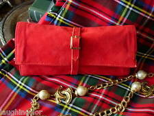 Rare Vintage LEDERER RED Suede Travel Accessory Jewelry Case Keeper Roll box