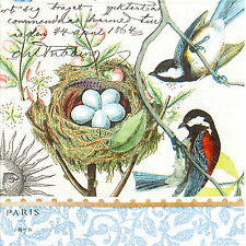4x Single Table Party Paper Napkins for Decoupage Decopatch Craft Bird Nest Blue
