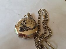 A63 Fallow Deer Head  polished silver case mens GIFT quartz pocket watch fob