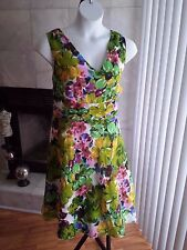 Robbie Bee PLUS SZ 20W 20 2X SWING LINED Sleeveless Dress GUC floral Sexy TEA