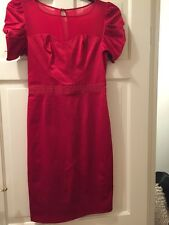 Next Red Satin Mesh Dress Size 8