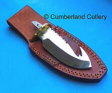 "Polished Guthook Hunting Knife Making  Blade Blank with Leather Sheath  4"" Blade"
