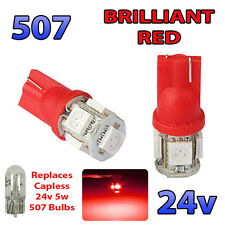 2 x RED 24v Capless Side Light 507 501 W5W 5 SMD T10 Wedge Bulbs HGV Truck