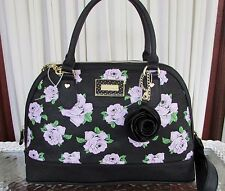 Betsey Johnson Dome Satchel Lavender Floral Rose Crossbody Bag Black Handbag NWT