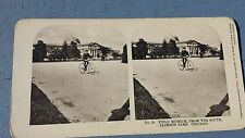Antique Stereoview Field Museum Jackson Park Chicago Man Riding Bicycle Bike