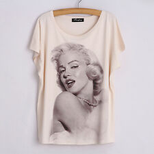 Women's 3D Marilyn Monroe Graphic Print Dolman Sleeve Casual T-Shirt Blouse Tops