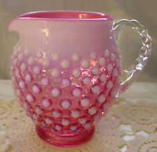 "FENTON GLASS""MNT""VINTAGE~40s""CRANBERRY OPALESCENT""HOBNAIL""5""FAT""JUG/PITCHER/VASE"