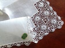 VINTAGE UNUSED IRISH LINEN HAND CROCHET LADIES LAWN HANDKERCHIEF WITH LABEL