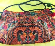NEW! BAG ORANGE SILK THAI HMONG TRIBAL EMBROIDERED HANDMADE PURSE BOHO HIPPIE