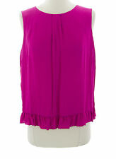 TOPSHOP Women's Fuchsia Solid Ruffle Trim Sleeveless Top 13A09A US Size 6 NEW