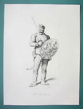 CHINA Tiger Guard of the Chinee Army - 1858 Engraving Print by Allom