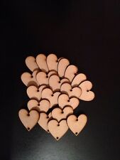 20 Wooden Mdf Hearts With Two Holes 40 X 40mm