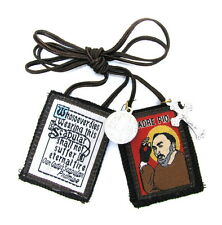 Scapular St Padre Pio Lady Mt Carmel Brown Scapular 100% Wool & Medals Catholic