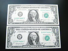 (2) $1 1963 B CHICAGO ((W. BARR)) FEDERAL RESERVE NOTE UNC BU NOTE