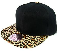ANIMAL PRINT SNAPBACK HAT CAP FLAT BILL CHEETAH PATTERN LEOPARD BLACK BLANK NEW