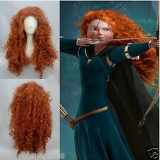 New Women Forest Princess Brave Merida Costume Auburn Red Cosplay Wigs