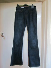 Ultra Low Rise Dark Blue Flared Long & Lean Gap Jeans in Size 24 inches - L32
