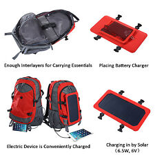 6.5W Solar Panel Powered Backpack Travel Bag 10000mah Charger Charging Outdoor