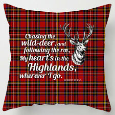 My Heart's in Highlands Burns night poem quote tartan scottish cushion / pillow