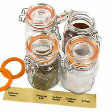 Set Of 12 Clip Top Spice Jars Empty Glass Storage Pots Containers With Labels