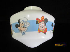 Vintage Disneyana Children's Glass Lamp Light Globe Mickey Mouse Minnie Mouse
