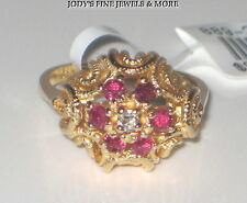 SPECTACULAR ESTATE 14K YELLOW GOLD ROUND RED RUBY & DIAMOND RING Size 5.5