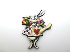 ALICE IN WONDERLAND WHITE RABBIT IN COURT CLOTHES WOODEN BROOCH PIN BADGE