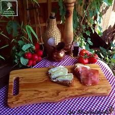 Servierbrett Grillteller Käsebrett Schneidebrett mit Henkel Olivenholz  Holz