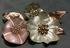 ALEXIS BITTAR FLORAL BOUQUET PIN BROOCH LUCITE ROSE GOLD CRYSTALS 3.5""