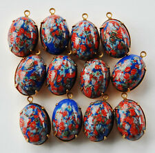 VINTAGE MILLEFIORE GLASS OVAL PENDANT BEADS • 18X13mm • BLUE & RED